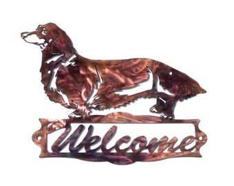 Long-Haired Dachshund Welcome Sign - CAN BE CUSTOMIZED!