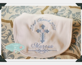Personalised Baby Christening Baptism bib Embroidered