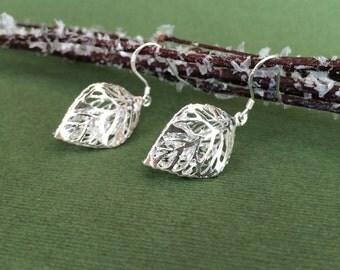 3D Silver Leaf Earrings, Small Leaf Earrings, Dangle Filigree Leaf Earrings, Crystal Earrings