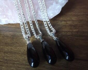 Pretty Black Obsidian Gemstone Drop Necklace
