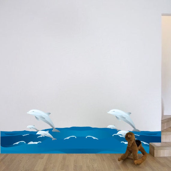 Dolphin wall decals wave wall decals dolphin wall for Dolphin wall mural