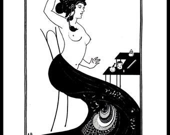 """Art Nouveau Print - Aubrey Beardsley Vintage Print, """"Toilette Of A Courtezan"""", Art Nouveau, Original Book Page Print, Ready For Framing"""
