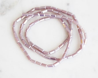 A3-036-9] Lilac / 2 x 4mm / Faceted Crystal / Square Tube Bead  / 1 strand