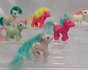 Lot of Six 1980's Hasbro My Little Pony Bait MLP G1 Flawed Ponies for Customizing, Restoration or One of a Kind Work-Group Three Baby Ponies