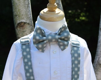 Little Boys Bow Tie and Suspender Set, Boys Gray and White Polka Dot Bow Tie and Suspender Set, Bow Tie and Suspender Set, Ready to Ship