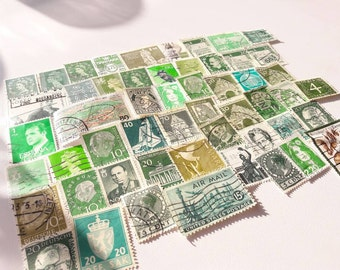 50 Green Postage Stamps – Worldwide lot