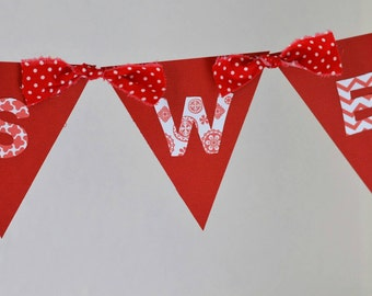 Sweet 16. Happy Birthday Banner. Red and White Birthday. Girl Birthday.