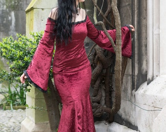 Melisandre Dress - Handmade Velvet Gothic Fishtail Off Shoulder Mermaid Vampire Game of Thrones Dress