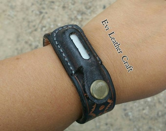 Mi Band Leather Bracelet - Xiaomi fitness band - fitbit flex - leather band - Personalized hand tooled hand stitched