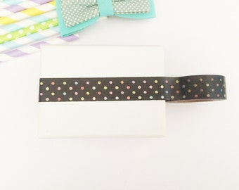 Black and colorful polka dots washi tape, cute deco tape, paper tape, cute tape, packaging, wrap tape, polka dots,black,elegant,cute gift