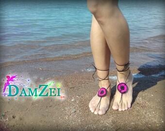 Lace Barefoot Sandal, Barefoot flower Anklet, Foot Jewelry, Barefoot Sandal, Hot Pink Barefoot Sandal,  poppy