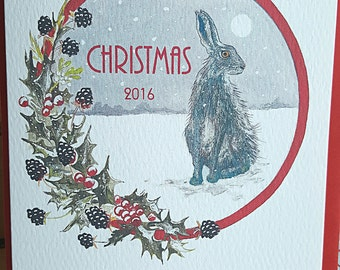 Multi pack Hare christmas cards. Norfolk hare. Hare Christmas card. Hand painted christmas card. hare painting