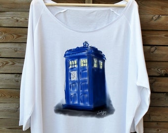 Doctor WHO. Tardis. Slouchy white tee. Oversize blouse. Very silky & soft. For lovers of Dr. Who.