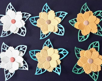 6 x flowers for card making and scrapbooking. Various colours.