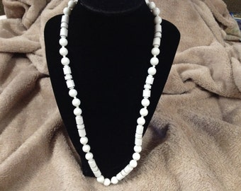 Vintage White Acrylic Beaded Necklace, 24'' Long