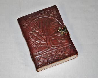 Handmade Tree of Life Tooled Leather Blank Journal, Diary, Sketch or Notebook Book