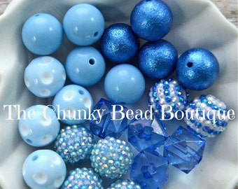 20mm blue bead assortment