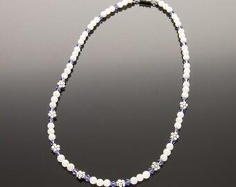 Flower Charm Necklace, Girls Necklace, Child Necklace, Flower Girl Gift, Swarovski Tanzanite Crystal