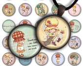 75% OFF SALE Digital Collage Sheet - Bonnie - 1inch Round 25mm Circle Pendant Printable PC070 Instant Download Baby Girl Jewelry Making