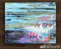 Original blue and pink abstract painting - blue and pink eclectic painting, colorful abstract painting modern painting pastel color abstract