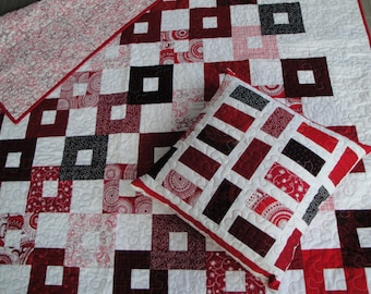 Throw quilt with pillow - Red, black and white
