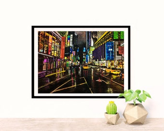 Times square original oil painting print on canvas paper