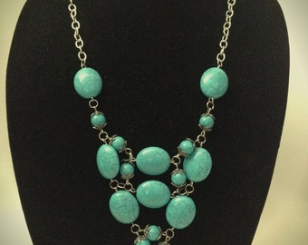 Antique Turquoise Statement Necklace, Turquoise Necklace, Statement Necklace, Antique Jewelry