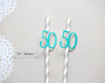 50th Birthday Party Straws 50th Anniversary Fiftieth Birthday Straws 40th 45th 50th Birthday Party Decorations Gold/Black/Teal/Yellow