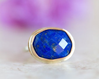 Lapis Ring, Lapis Faceted Ring, Lapis Gold and Silver Ring