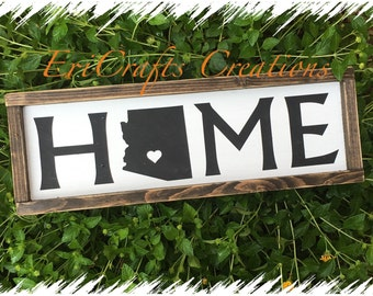 HOME Wood Sign, Custom State with heart Frammed