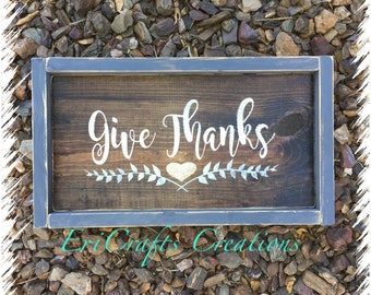 Give Thanks with glitter heart Wood Sign Framed