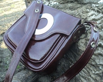 Chocolate brown PATENT bags, vintage women's handbag, patent leather, made in the USSR - 80 x.