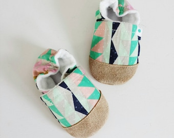 Soft soled baby and toddler shoes slippers booties - Multi-coloured geo print