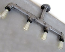 Industrial Pipe Chandelier Ceiling Four Edison Bulbs Black Water Iron Upcycled Steampunk Style Lighting