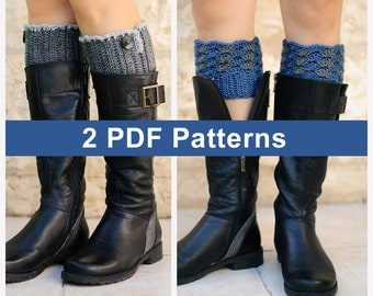 Two crochet patterns: Gray leg warmers pattern #3 + Leg warmers pattern #2, step by step instructions with exellent images