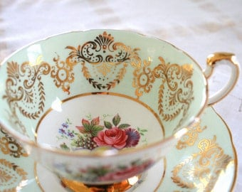 Antique Mint and Gold Paragon Bone China Teacup