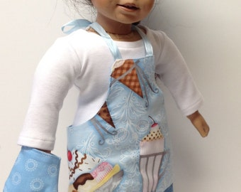 Doll Lovin' from the Oven Apron, chef hat, oven mitt in blue