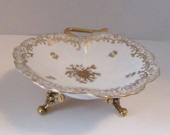 Vintage Stylebuilt Dish Gold Trimmed Footed Style Built Dresser Dish