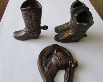 3 Vintage Cowboy Boots Horse in Horseshoe  Small Cast  Knick Knacks
