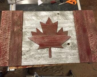 Rustic Barn wood Canadian Flag, Canadian shop