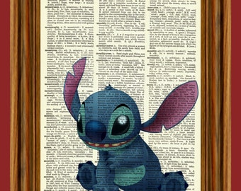 Disney's Stitch Upcycled Dictionary Art Print Poster