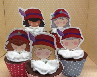 Red Hats Party Cupcake Topper Decorations - Set of 10