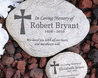 Personalized Memorial Garden Stone Engraved In Memory of CROSS Garden Stone ROUND Garden Stone LARGE