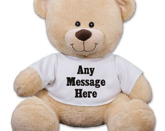 Personalized Teddy Bear Plush Add Any Custom Message 11 inch Cuddly Teddy Bear