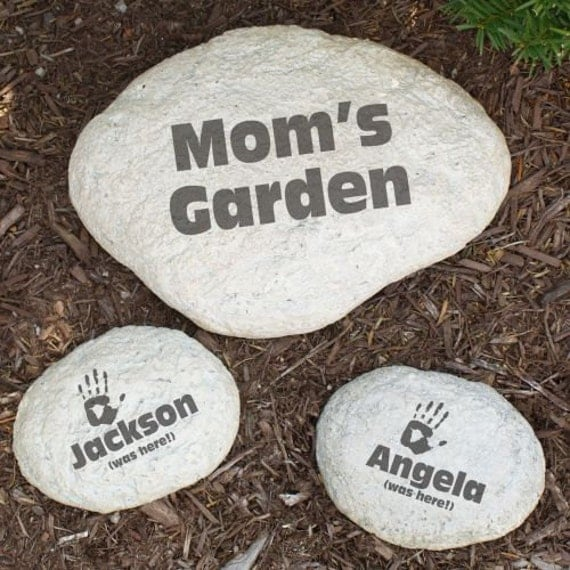 Names Of Decorative Stones : Personalized large garden stone decorative engraved