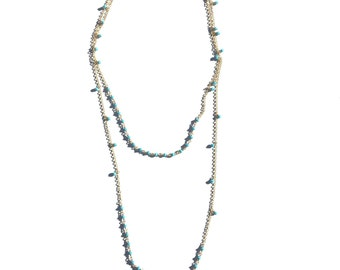 """BRYNN NECKLACE * 44"""" dainty gold filled necklace with swarovski accent"""