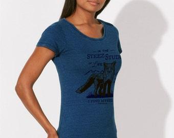 T-SHIRT woman Bio 100% cotton - Beautiful Blue Jean Denim - Visual Fox