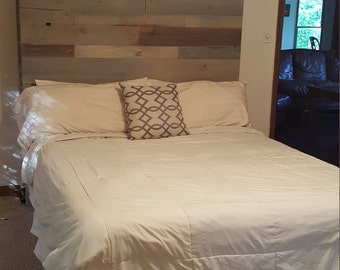 Reclaimed wood headboard with Shelves!