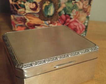 Antique Sterling Silver Box with Wood Insert and Lion Passant Fleur de Lis Design