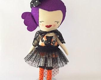 Rockabilly Witch- Minnie-Halloween Decor Doll-Rockabilly Halloween-Free Domestic Shipping